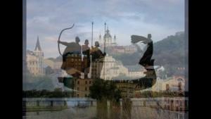 Drei Begründer der Stadt Kiew.