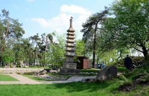 Die Errichtungen im Park Kioto in Kiew.
